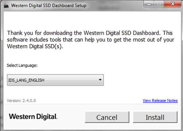 Western Digital Dashboard install older version