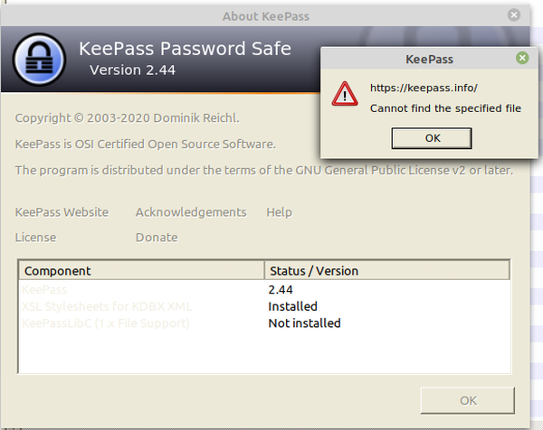 Keepass 2 cannot find the specified file