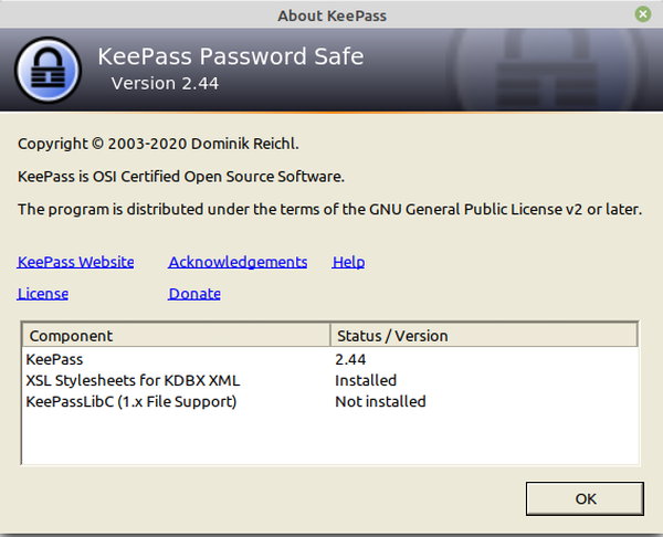 Keepass 2 2.44 on Linux Mint 20.1