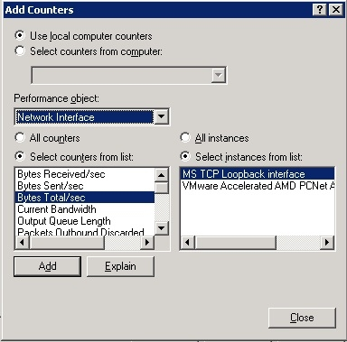 Windows Network Interface performance counter