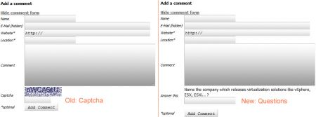 Blog Comment Form: Captcha vs. Question