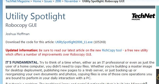 Utility Spotlight mentions Richcopy