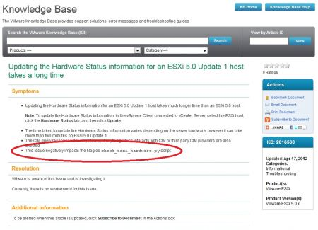 VMware Knowledge Base Article Slow Hardware Status