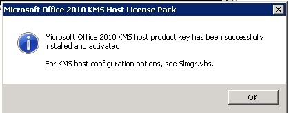 Office 2010 KMS Host License Pack License installed
