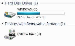 Windows C: new drive size