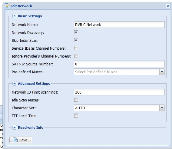 TVHeadend Network Settings Thurcom