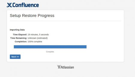 Confluence Restore Progress Complete