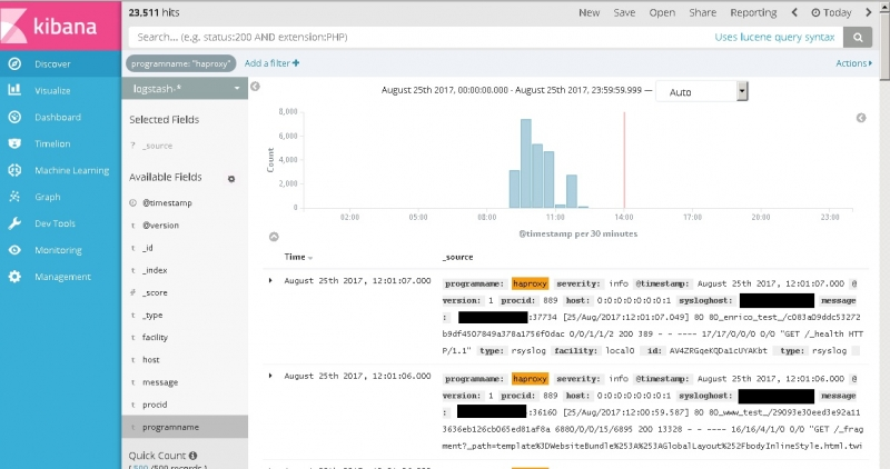 ck :: Docker container syslog logs not appearing in ELK Kibana