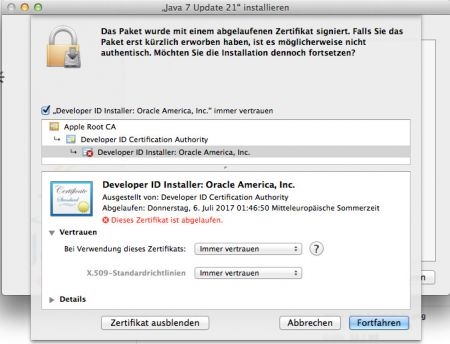 Java Install on Mac OS 10.9 Certificate expired