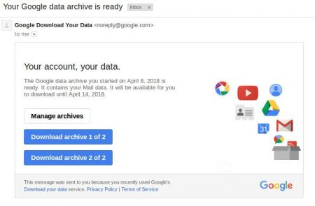 Google data archive is ready