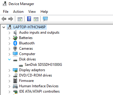 Windows 10 Device Manager SanDisk SSD