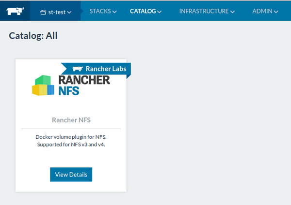 Rancher 1.6 NFS Plugin from Catalog