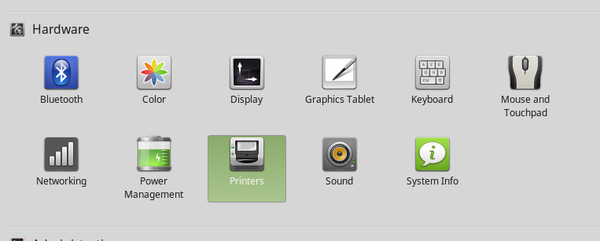 Linux Mint System Settings Printers