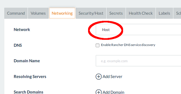 Rancher Service using network of Docker Host