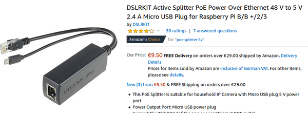 DSLRKIT PoE splitter on Amazon