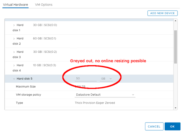 VMware vsphere UI extend virtual hard disk greyed out