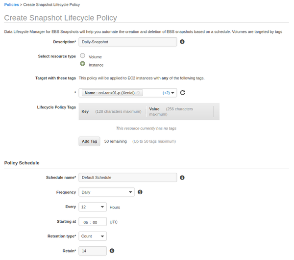 Create new policy in Data Lifecycle Manager