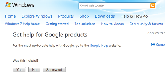 Windows 7 Help Google products
